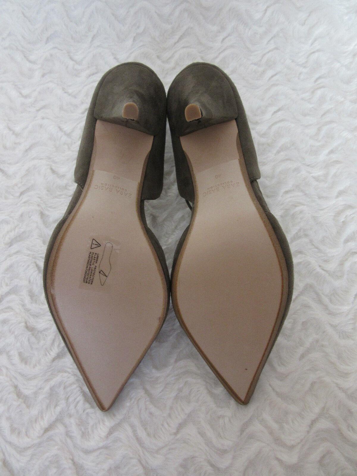 ZARA KHAKI GREEN SUEDE LACE UP MID HEELS Schuhe VAMP POINT UK7 EU40 USA9 BLOGGER
