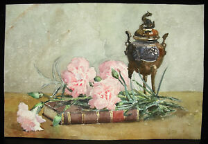 M-Pouray-c1920-Watercolour-Flowers-and-Burns-Incense-Chinese-China-Burner