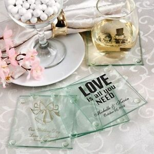 image is loading 150 personalized glass coasters display boxes wedding favors