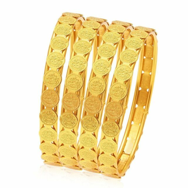 Latest Ethnic Traditional Indian 18K Gold Plated Laxmi Coin 4pc Bangle Gift Set