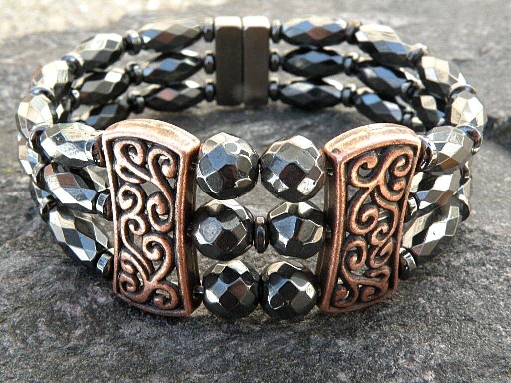 Women's Powerful Magnetic Hematite Tibetan Copper Bracelet 3 Row Magnetic Clasp