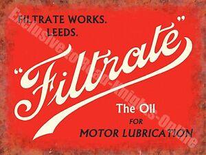 Filtrate Motor Oil Leeds Old Vintage Garage Advertising Large Metal Tin Sign