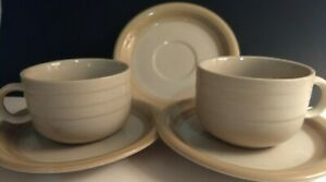 2-set-Newcor-stoneware-Japan-Coffee-Cup-Saucers-Vtg-beige-brown-trim-xtra-saucer