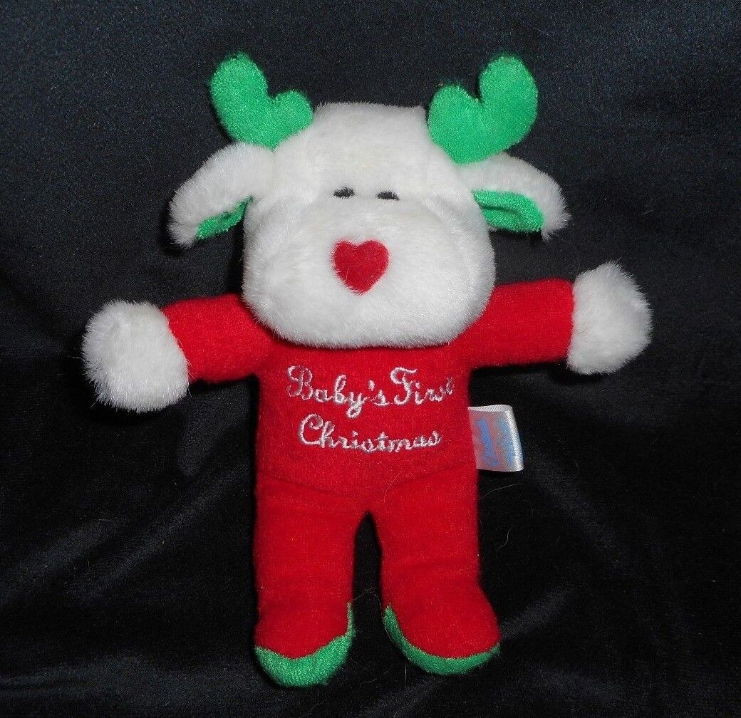 CARTER'S BABY'S FIRST CHRISTMAS MOOSE REINDEER RATTLE STUFFED ANIMAL PLUSH TOY