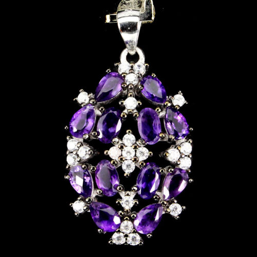 Sterling Silver 925 Genuine Natural Dark Purple Amethyst /& Lab Diamond Pendant