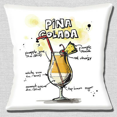 Pina Colada Cocktail Cushion Cover 16x16 inch 40cm Pineapple Rum Holiday Drink
