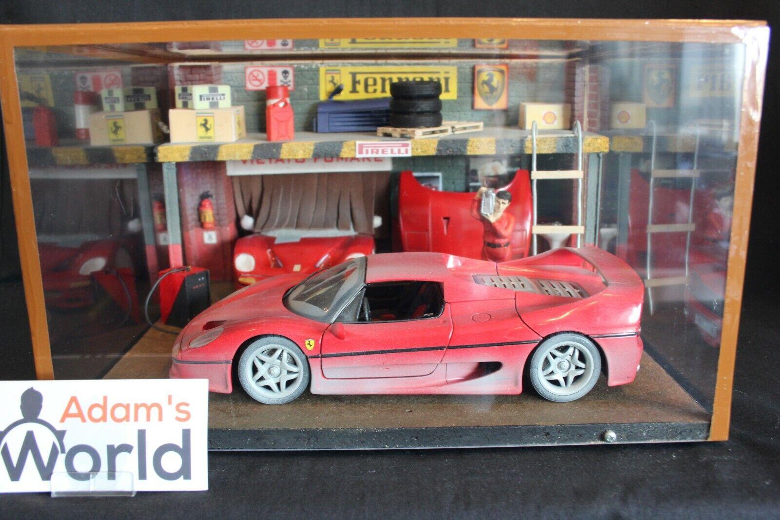 design semplice e generoso Diorama Ferrari lavoronegozio lavoronegozio lavoronegozio 1 18 with a Ferrari F50 (Bburago) (PJBB)  nuova esclusiva di fascia alta