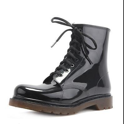 Herren Schuhe Gummistiefel Schnürschuhe Wasserdicht Boots Schwarz Regenschuhe | eBay