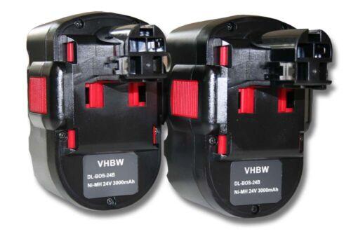 2x BATTERY 3000mAh 24V black red for BOSCH 2607335538 2607335562 2607335561