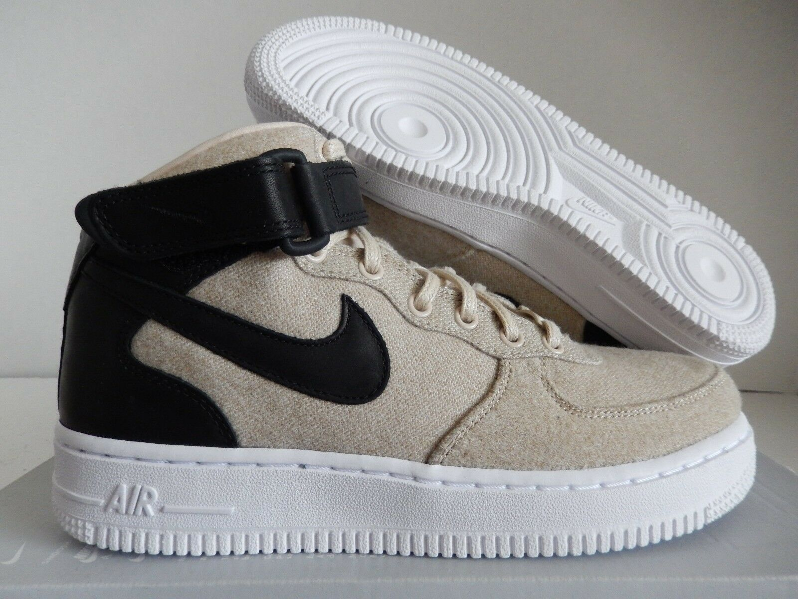 WMNS NIKE AIR FORCE 1 07 LTHR PREMIUM COOL GREY SZ 9 WOOL PACK! [857666-001]
