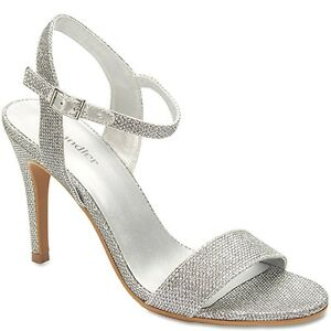 Ladies-Wedding-Evening-Sandals-Shoes-Silver-or-Gold-Shimmer-Heels-BNWT-RRP-130