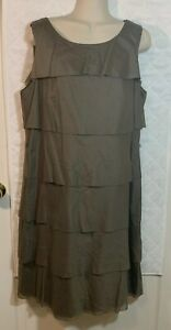 Talbots-Olive-Green-Dress-Women-039-s-14-Cotton-Sleeveless-Tiered-Shift-Casual-R
