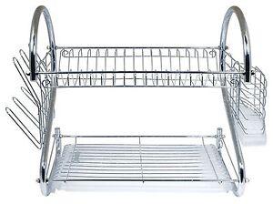 Chrome Kitchen Dish Cup Drying Rack Drainer Dryer Tray Cutlery Holder Organizer Ebay