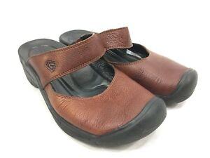5e7fdefd7 Keen Brown Leather Slides Shoes Sandals Womens 7 Comfort Clog Slip ...