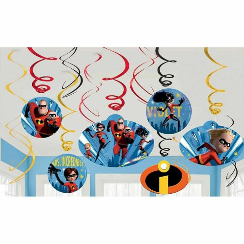 Disney Incredibles 2 Swirls Decoration Dangler Birthday Party Supplies 12 Piece