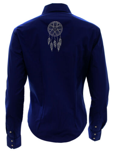 Women/'s El General Cowgirl Shirt Camisa Vaquera Mujer Azul Cobalto Long Sleeve