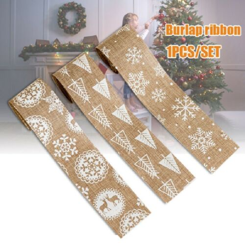 1 Roll Natural Jute Burlap Ribbon Christmas Tape Vintage Wedding Decor DIY 2M