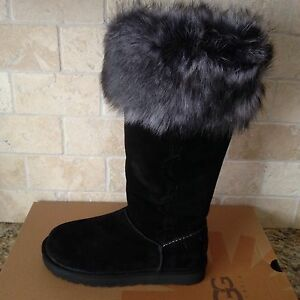Image is loading UGG-ROSANA-WATER-RESISTANT-BLACK-SUEDE-TOSCANA-CUFF-