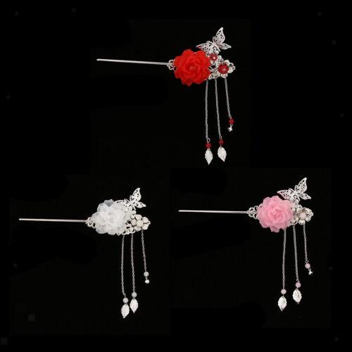 Retro Flower Tassel Hair Stick Clip Hairpin Silver Chignon Kimono Hanfu