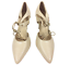 thumbnail 5 - Womens Ladies Beige Faux Leather High Heel Party Court Shoes Size UK 5 New