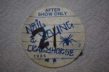NEIL YOUNG & CRAZY HORSE 1986 ORIGINAL BACKSTAGE PASS AFTER SHOW SILK PASS