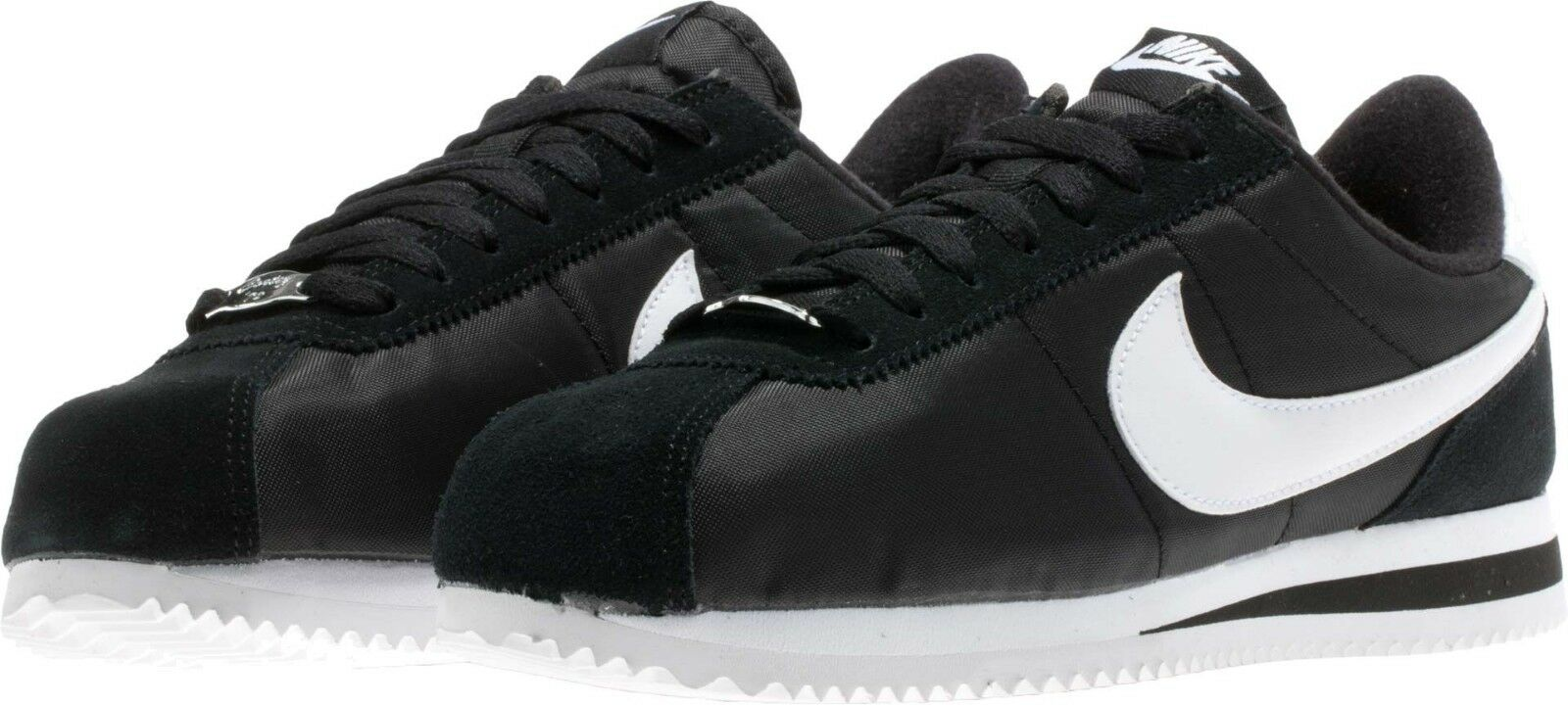 Men's Nike Cortez Basic Nylon Casual shoes Black White Sizes 8-12 NIB 807472-011
