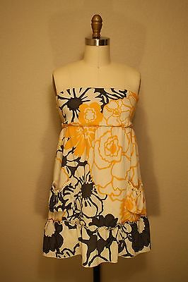 Anthropologie Fei Sunflower Shower Strapless Tunic Blouse S Yellow