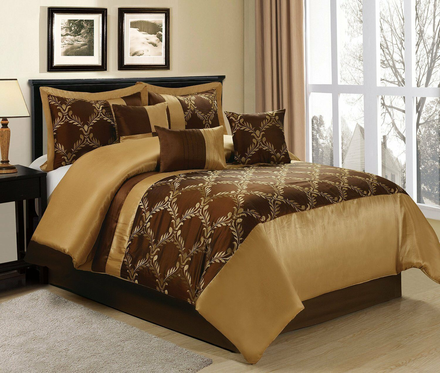 LUXURY 7 PCS MEDALLION DESIGN  COMFORTER SET BED IN A BAG 3 SIZES AVAILABLE NEW.