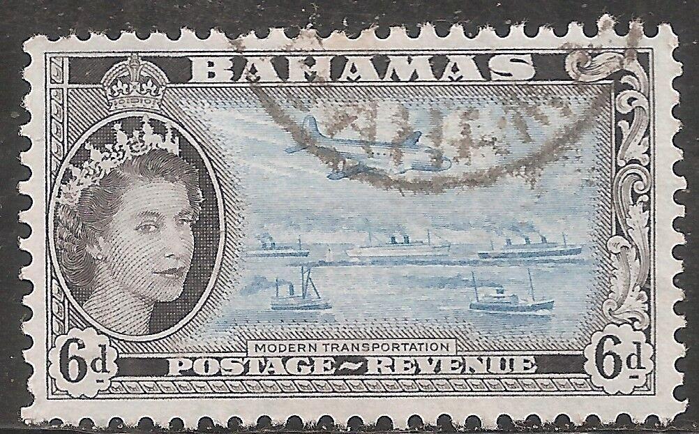 Bahamas Stamp - Scott #165/A17 6p Black & Aqua Canc/LH 1954