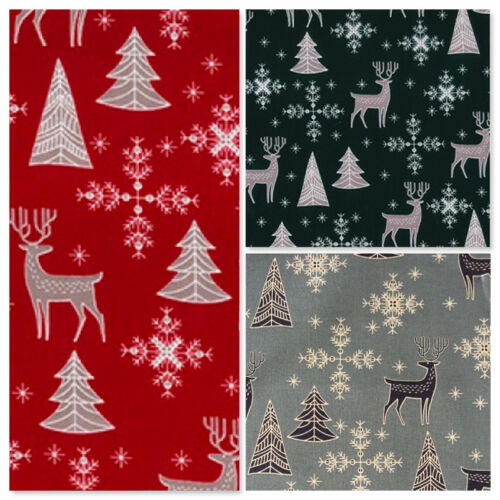Cuarto Gordo Tela de Navidad por Metro Rojo Gris Crema Craft festivo Adviento Noel