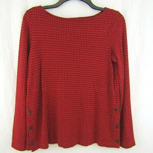 J-Jill-Ponte-Red-Black-Plaid-Top-Shirt-Tunic-Blouse-Size-XS-Lagenlook-Check