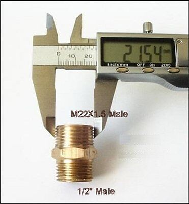 """Pipe Fitting 1//2/"""" NPT to Metric M22 M22X1.5 Male Brass Adapter N-@K4"""