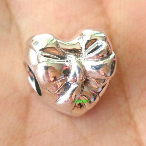 925 Sterling Argent Brillant Coeur Bow Charm Fit European Charm Bracelet