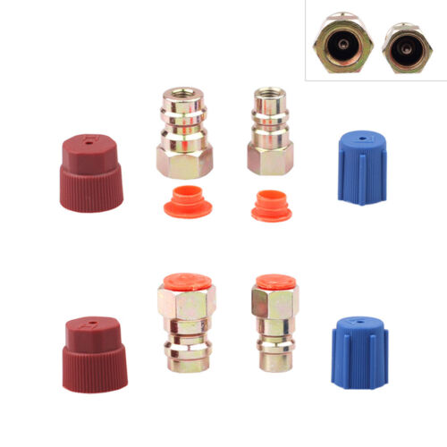 4x AC R-12 to R-134a Retrofit Conversion Adapter Fitting 7//16 3//8 SAE Valves Kit