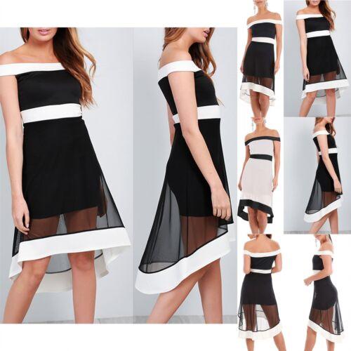 Ladies Womens Bardot Flared Contrast Panel Off Shoulder Skater Hi Lo Mini Dress
