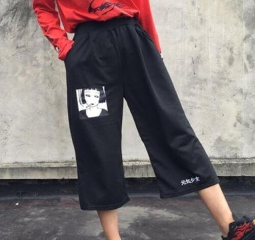 Summer Retro Korean Womens Loose Linen Casual Harajuku Harem Pants Trousers sz
