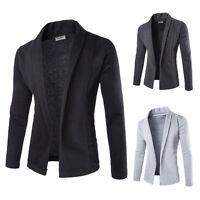 Men's Stylish Cardigan Sweater Jacket Blazer Tops Slim Fit Casual Coat Black L