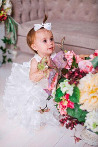 Free Gift Baby Flower Girls Dress Christening Gown Birthday Christmas Angel 0-5Y