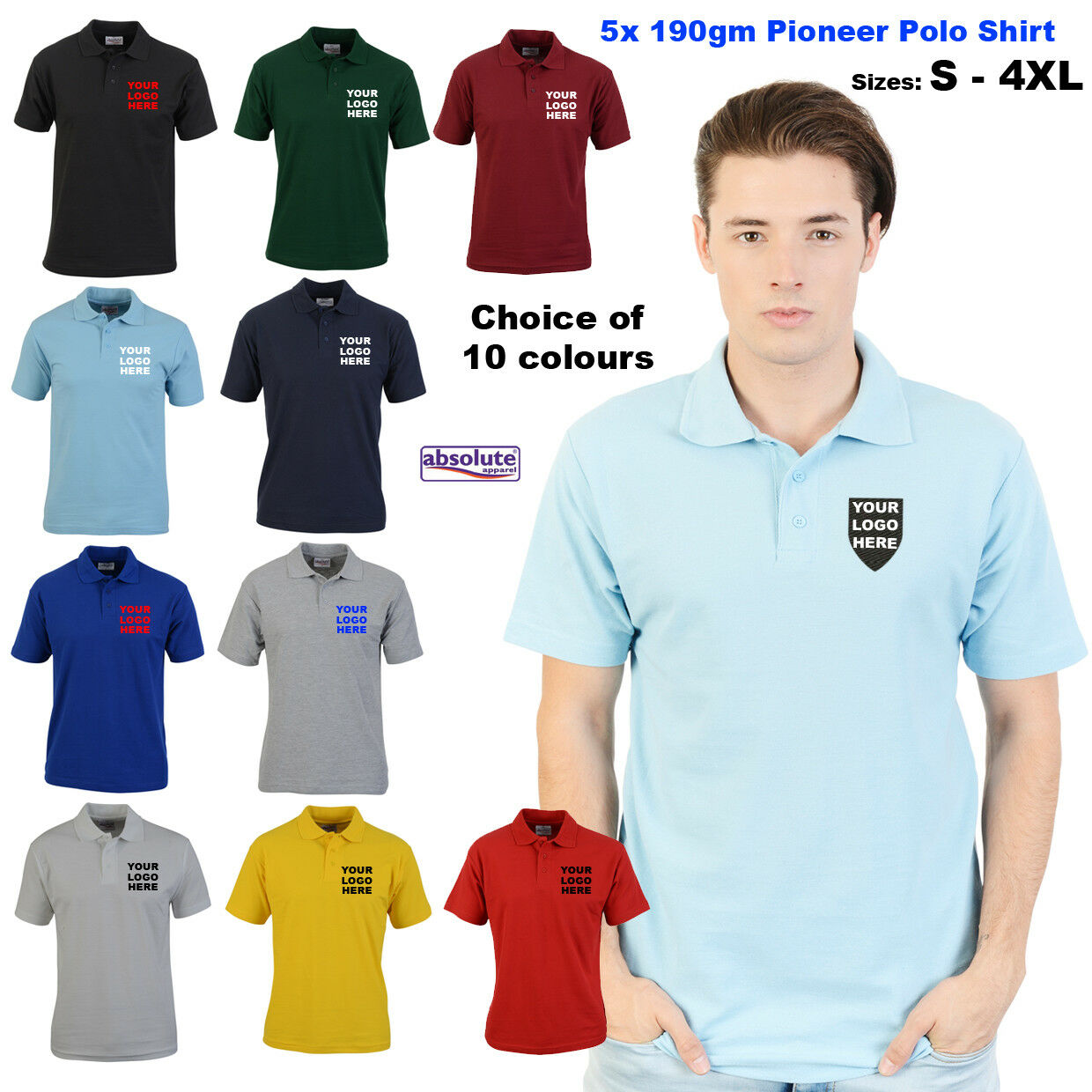 5x Personalised EmbroideROT Polo Shirts Custom