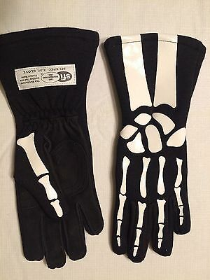 NASCAR-Skeleton Nomex Auto Racing Gloves//Driver Fireproof  Skull Bones Gloves