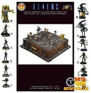 SOTA-Toys-Aliens-Dx-Pewter-Chess-Set-Painted-Pieces-Limited-Edition