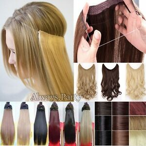 Long Real Straight Curly Wire Headband One Piece Clip in on Hair ... acdf1f224
