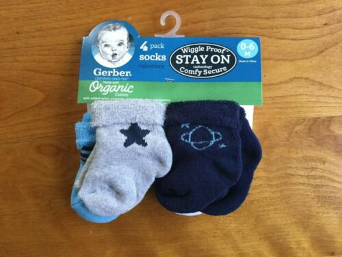 FREE SHIPPING Gerber Organic Wiggle Proof Baby 4 Pack Socks  **Size 0-6M**