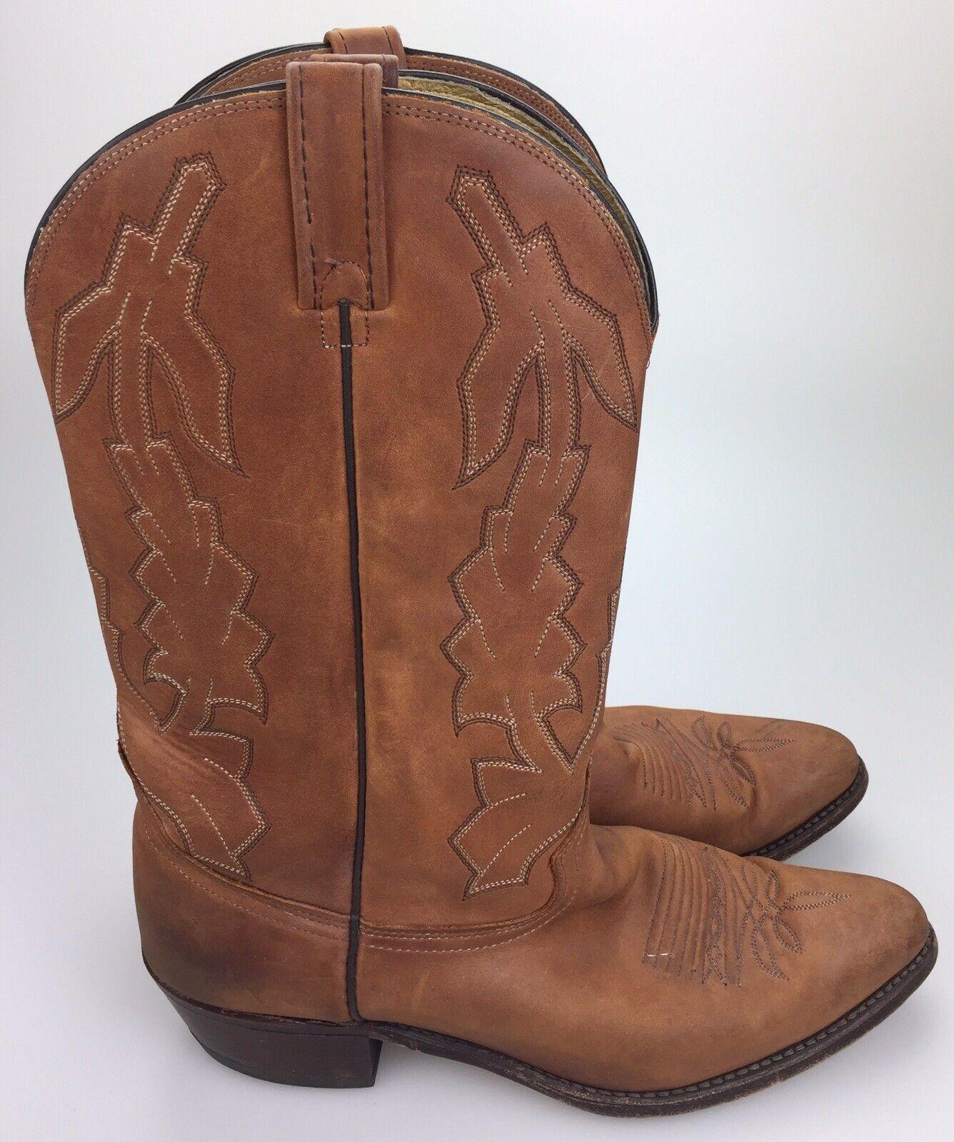 RARE Dan Post Men's 'Marlbgold' Brown Leather Cowboy Boots USA Style P2551 Sz 12D