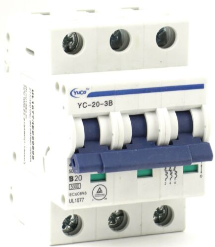 YuCo YC-20-3B Miniature Din Rail Circuit Breaker B Curve 20 Amp 3P 480VAC 220VDC
