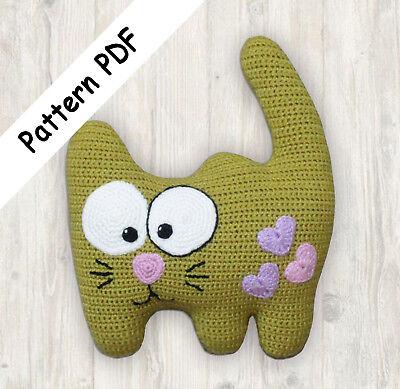 Cat pillow - crochet pattern | 389x400