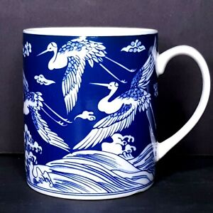 Asian-Blue-Coffee-Mug-White-Cranes-Flying-Over-Hills-Unsigned-Japan-Gift-Idea