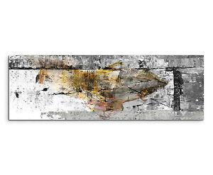 150x50cm Panoramabild Paul Sinus Art Abstrakt grau gelb schwarz weiß ...
