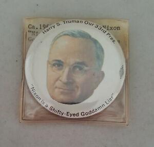 1960s-Harry-Truman-Anti-Nixon-button-pinback-Nixon-is-a-Shifty-Eyed-Goddamn-Liar