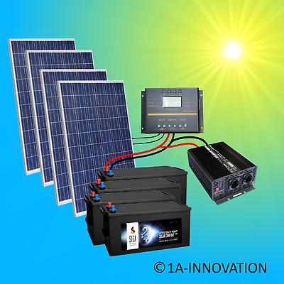 Erneuerbare Energie 1000w Solaranlage Komplettpaket 220v 4x Akku 280ah Solarpanel 2000w Watt 24v Heimwerker